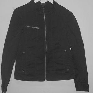 EXPRESS Women stand collar Moto black jean jacket